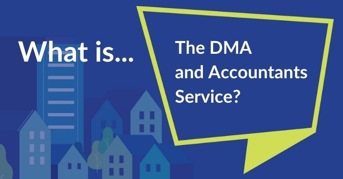 green speech bubble asking what the dma and accountants service