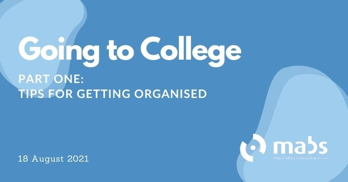 banner for post on going to college getting organised